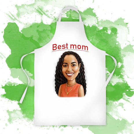 Print on Apron: Personalized Mother's Day Gift with Funny Cartoon Drawing - example