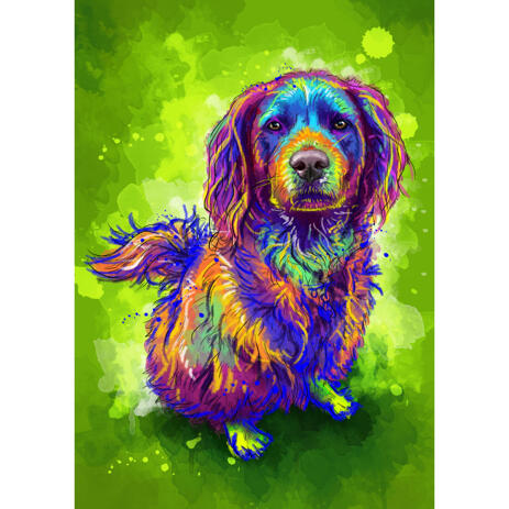 Full Body Dog Caricature Portrait in Watercolor Style on Green Background - example