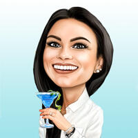 Lady Holding Cocktail Glass Caricature with One Color Background from Photos
