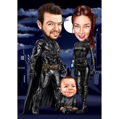 Custom Superhero Family Caricature from Photos - example