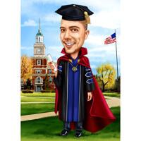 Diplom-Jungen-Karikatur-Halte-Zertifikat für Abschlussfeier-Studenten-Feiergeschenk