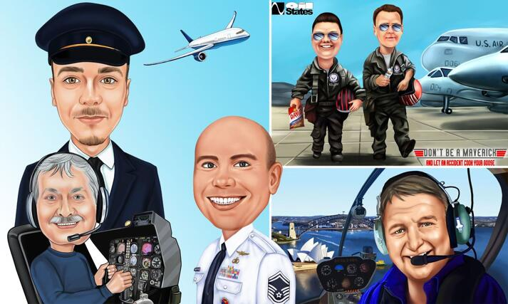 Pilot Caricature large example