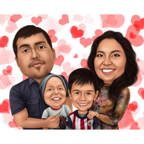 Family Portrait with Hearts Background - example