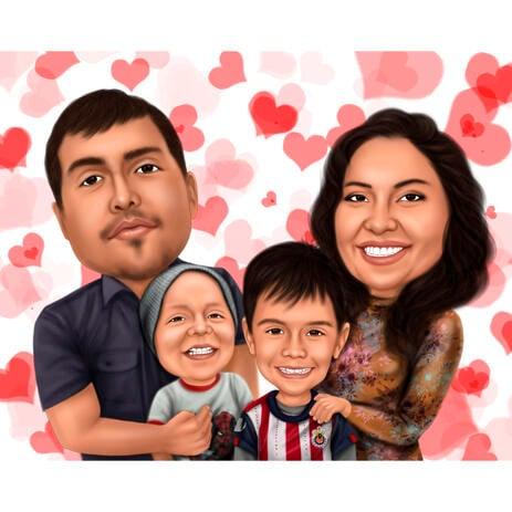 Familienporträt mit Herzhintergrund - example