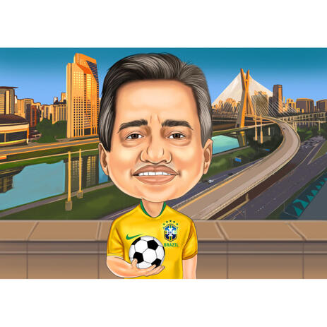 Football Caricature from Photos: Head and Shoulders, Colored Background - example