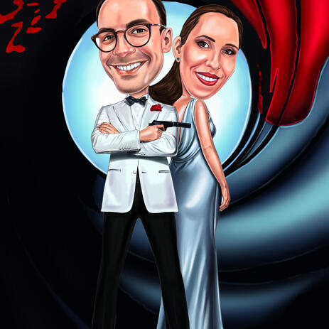 James Bond Couple Caricature for Valentines Day Card - example