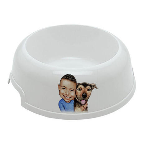 Kid with Dog Caricature on Pet Bowl - example