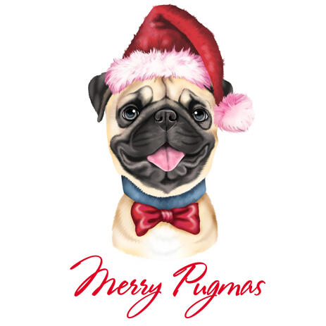 Christmas Pet Caricature from Photos in Colored Digital Style - example