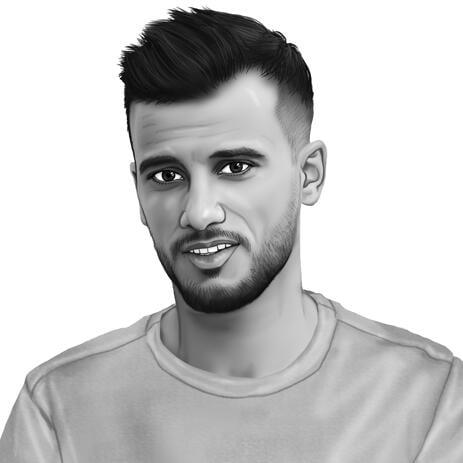 Portrait noir et blanc dessiné à la main à partir de photos - example