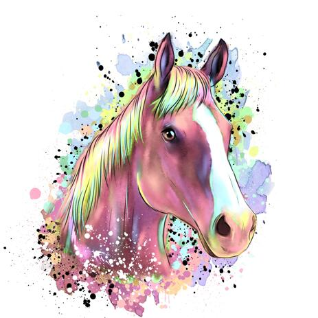 Pastel Horse Portrait from Photos - Watercolor Style - example