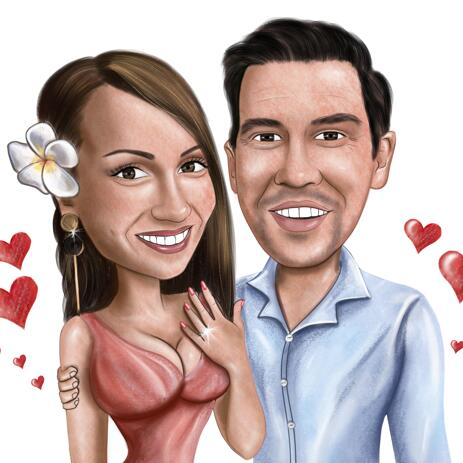 Engagement Couple Caricature from Photos for Anniversary Gift - example