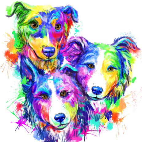 Group Border Collie Caricature Portrait in Rainbow Watercolor Style from Photos - example