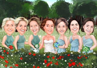 Bridesmaids Group Caricature from Photos