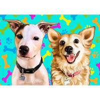 Two Dogs Cartoon Portrait in Color Style with Background Hand-Drawn from Photos