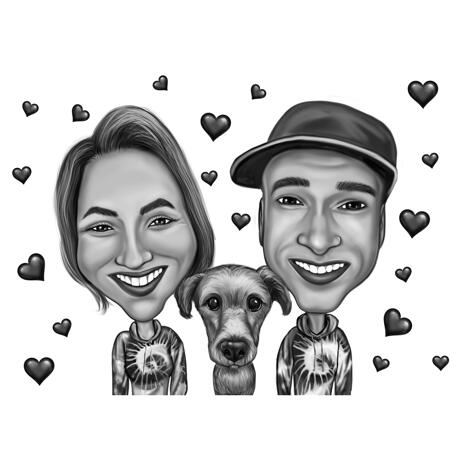 Couple with Pet Caricature in Funny Exaggerated Style on Hearts Background - example