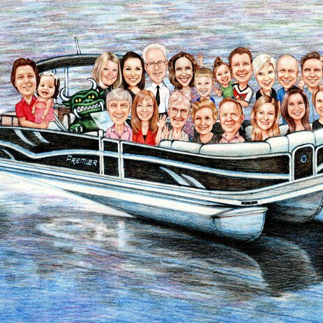 Group on Boat Caricature Drawing - example