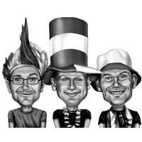Humoristische vrienden karikatuur hoge tekenkunst van foto's in zwart-witstijl
