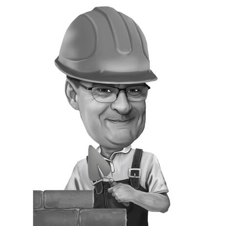 Head and Shoulders Construction Man Caricature Portrait from Photos - example
