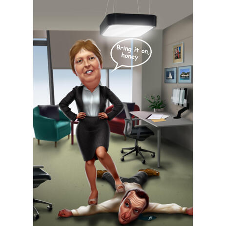 Funny Office Caricature from Photos with Custom Background - example