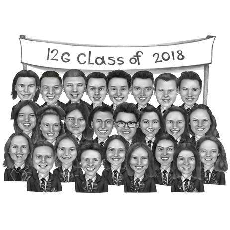 School Class Caricature Portrait of All Classmates - example