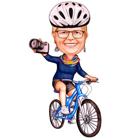 Bicycle Portrait Caricature from Photos for Gift - example