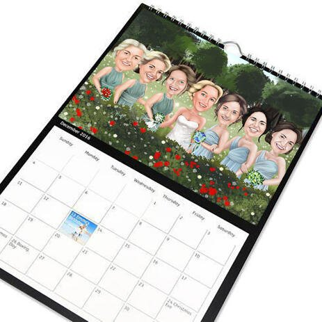 Group Wedding Caricature for Wedding on Calendar - example
