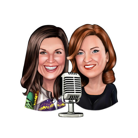 Two Persons Podcast Interview Caricature in Color Style from Photos - example
