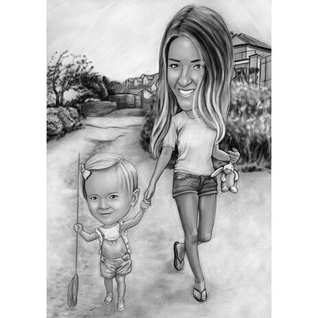 Caricatura de mãe com criança em uma caminhada no estilo preto e branco das fotos - example