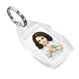 Kid Caricature Drawing Printed as Keyrings