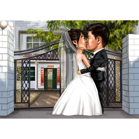 Wedding Kissing Portrait of Bride and Groom - example