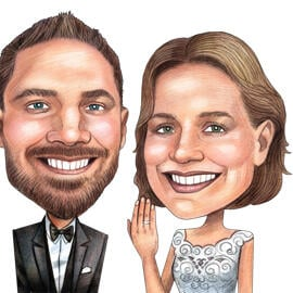 Funny Wedding Couple Caricature Drawing in Colored Pencils Style