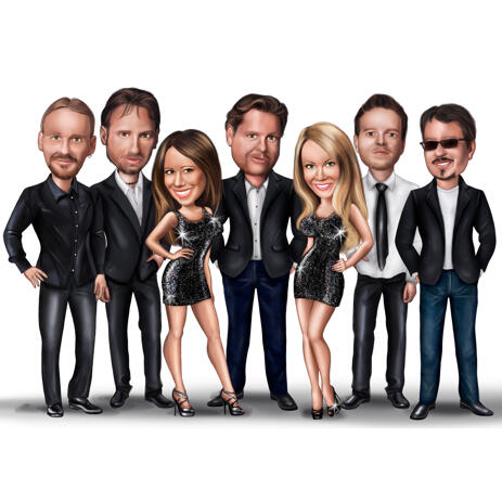 Group Happy Birthday Caricature Art from Photos for Boss Birthday Party Gift - example