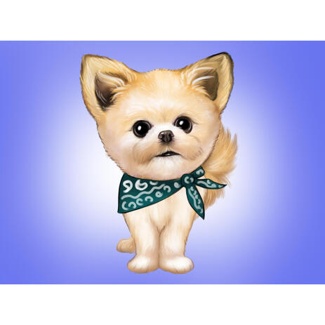 Toy Sized Pomeranian Dog Caricature from Photo with Colored Background for Spitz Lovers Gift - example