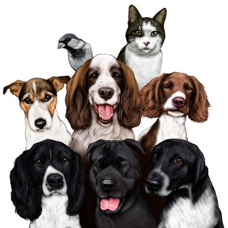 Various Group of Pets Caricature in Colored Style from Photos for Ideal Pet Lovers Gift - example