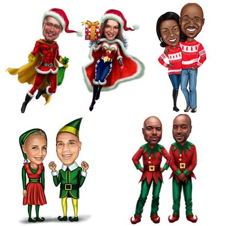 Full Body Christmas Couple Caricature in Colored Style - example