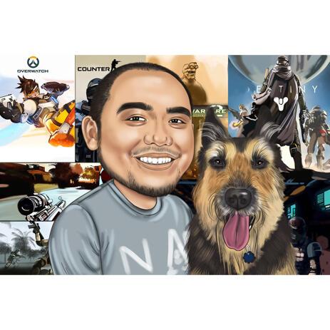 Карикатура хозяина с собакой на цветном фоне - example