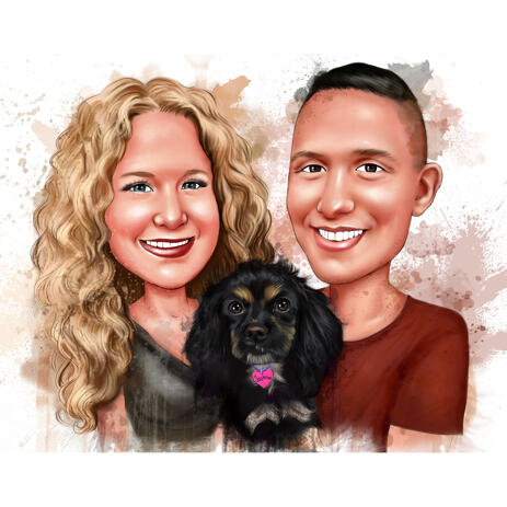 Couple with Dog Watercolor Caricature in Natural Coloring - example