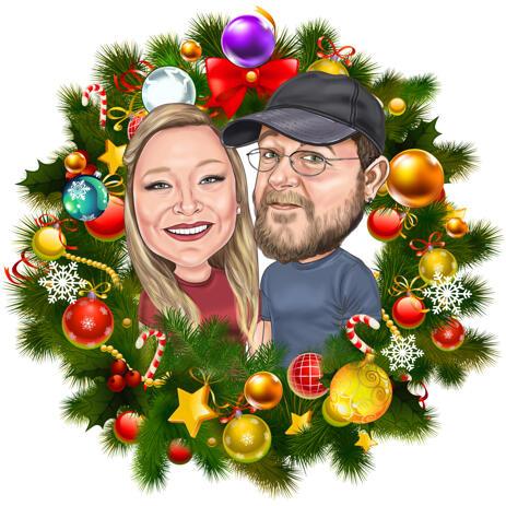 Карикатура на рождественскую пару в рождественском венке - example