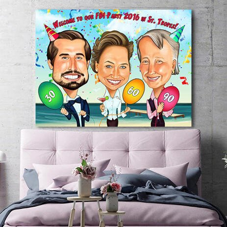 Group Birthday Caricature Gift Hand Drawn in Colored Style - Print on Canvas - example