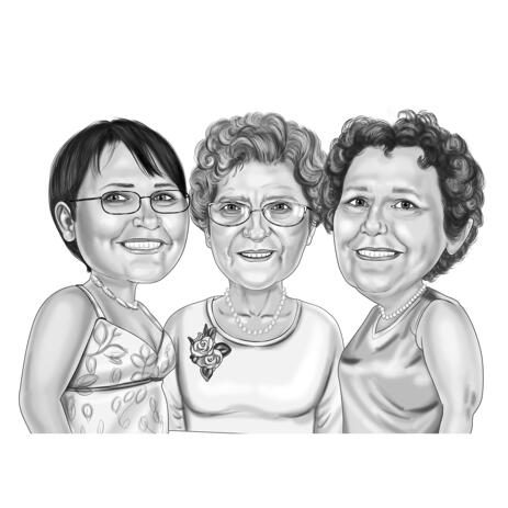 Hand-Drawn Three Friends Portrait Caricature Drawing from Photographs in Monochrome Style - example