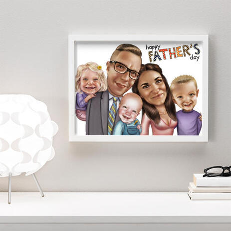 Photo Print: Custom Photo Drawing in Cartoon Style of Family - example