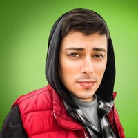 Person Portrait in Digital Style with One Color Background from Photo
