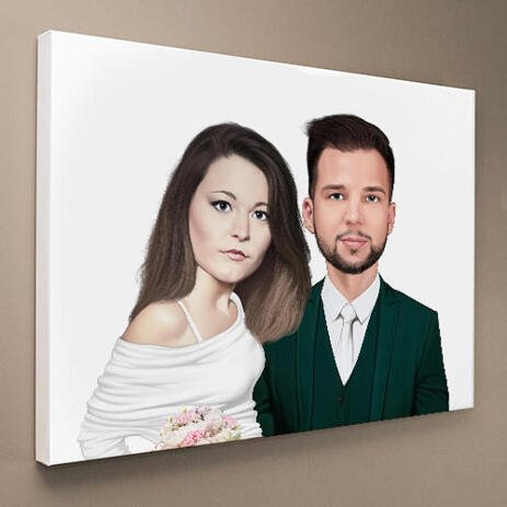 Bride and Groom Caricature as Wedding Gift on Canvas - example