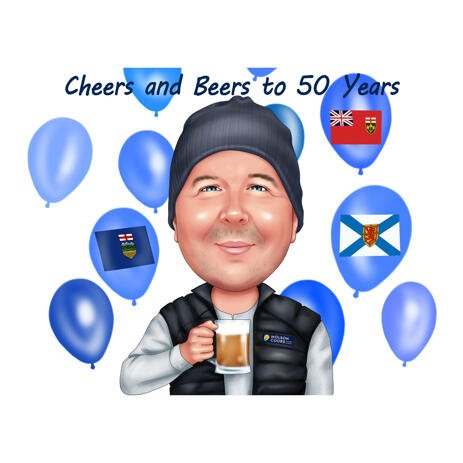 Man Birthday Day Caricature Gift from Photo for Beer Lovers - example