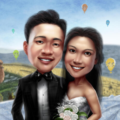 Personalized Wedding Couple Cartoon from Photo with Custom Background - example