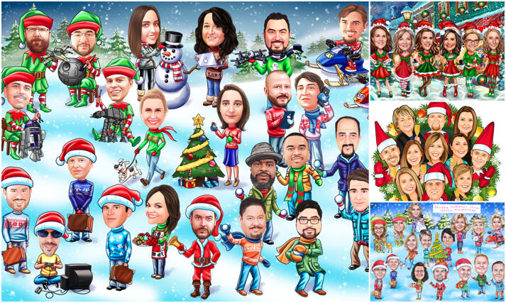 Corporate Christmas Caricature large example