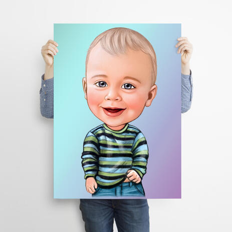 Children Caricature Portrait on Poster from Photos - example