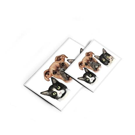 Pets Caricature Printed on Magnets - example