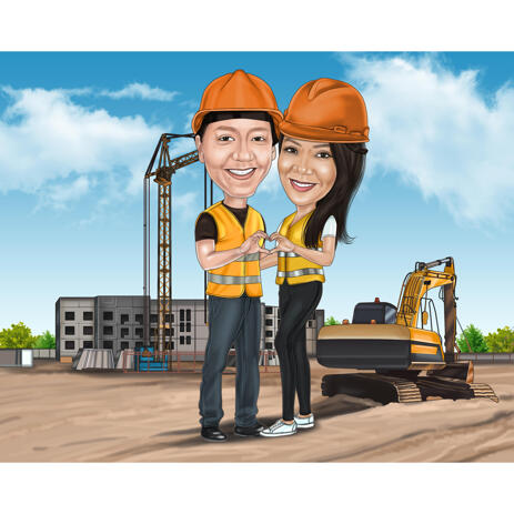 Construction Workers Couple Caricature with Custom Background - example