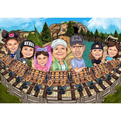 Rollercoaster Family Trip Caricature on Amusement Park Background from Photo - example